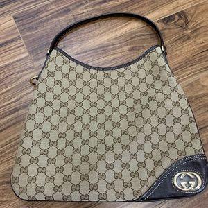 Gucci 169947 214397 Ebony Canvas Hobo Bag